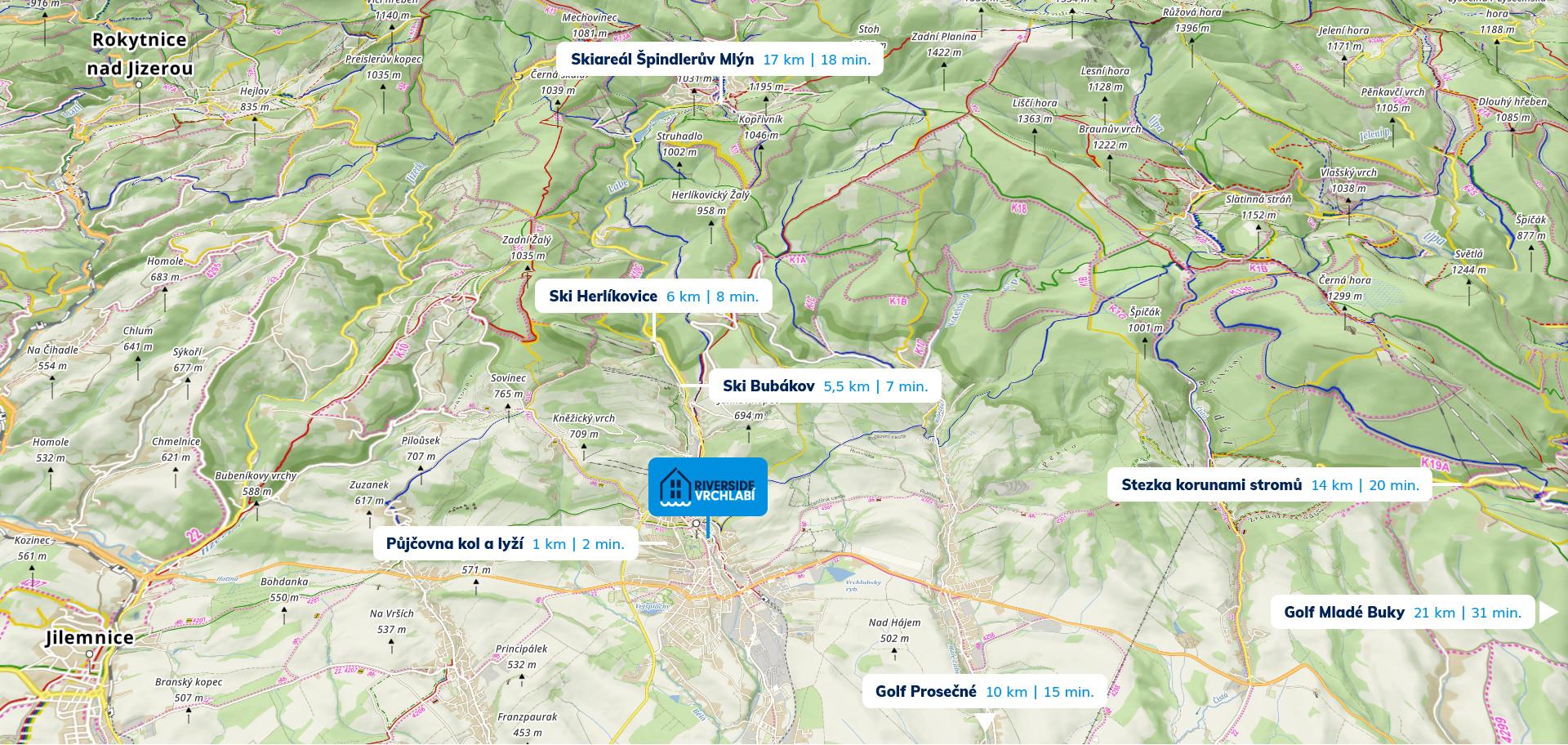 Mapa vrchlabského okolí